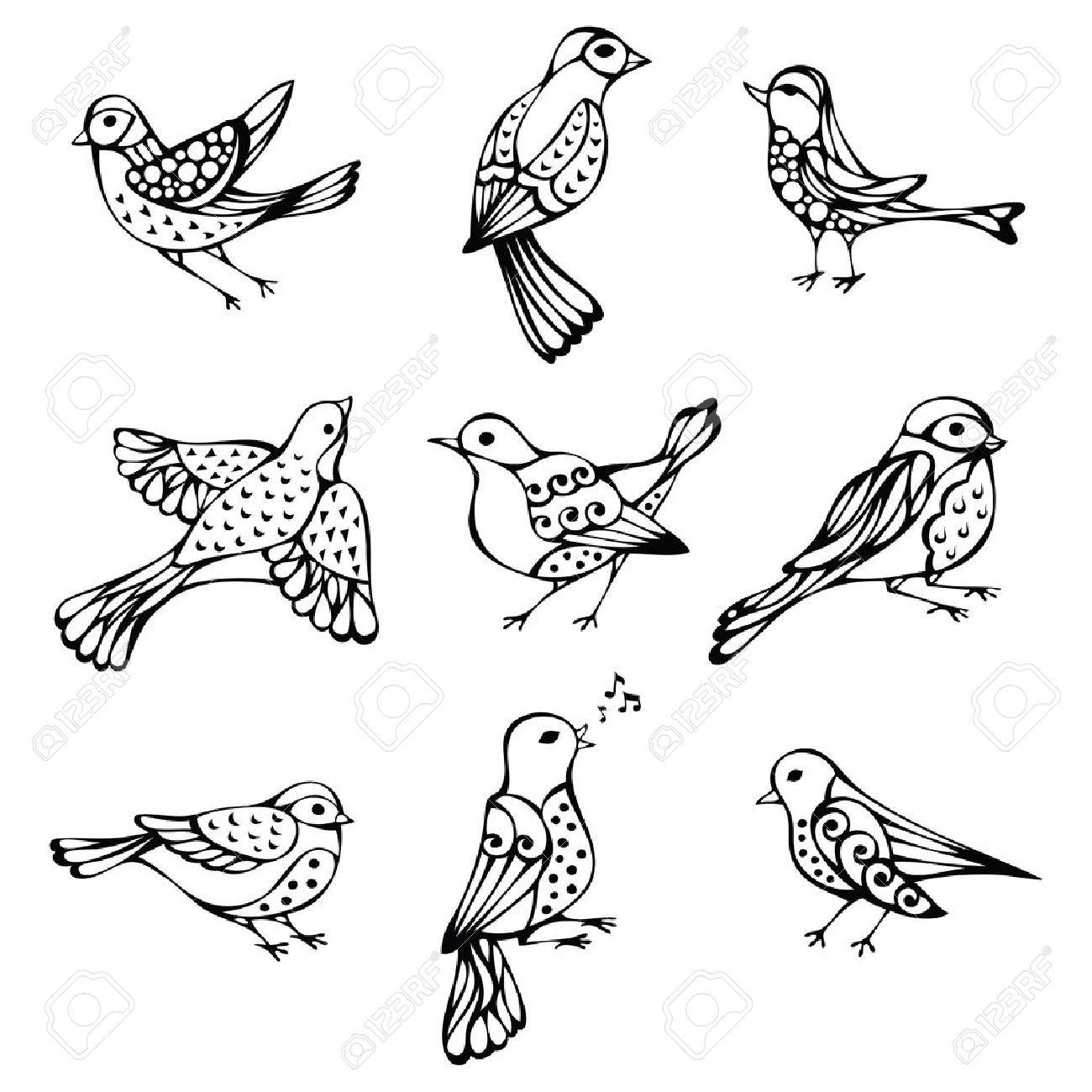 set of vintage birds. Black ornate birds isolated on white background..