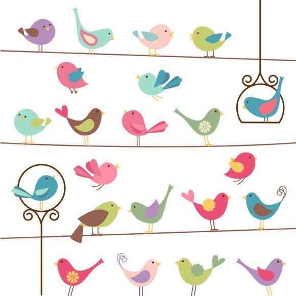 Birds Vectors ~~ Our Birds Clipart includes 1 Illustrator.
