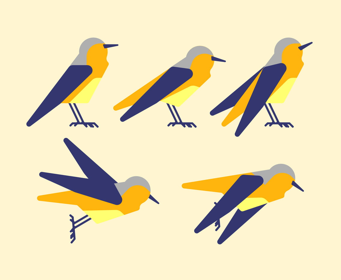 Unique Bird Clipart Set Vectors ai, eps, svg file.
