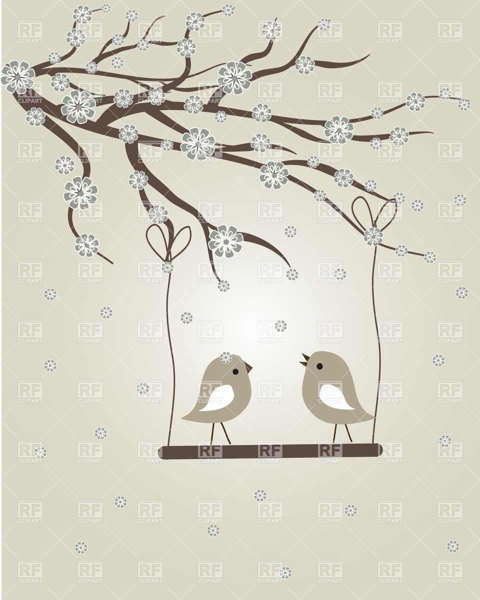 Couple of birds on the swing and tree branch covered with.