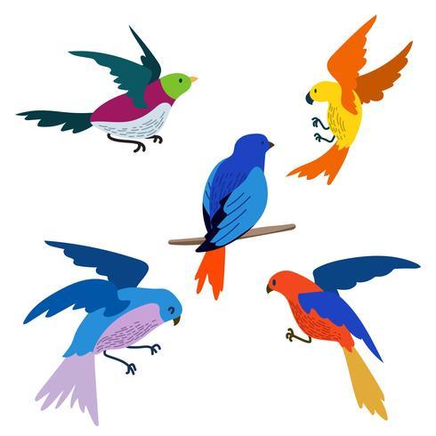 Flying Bird Clipart Set Vector.