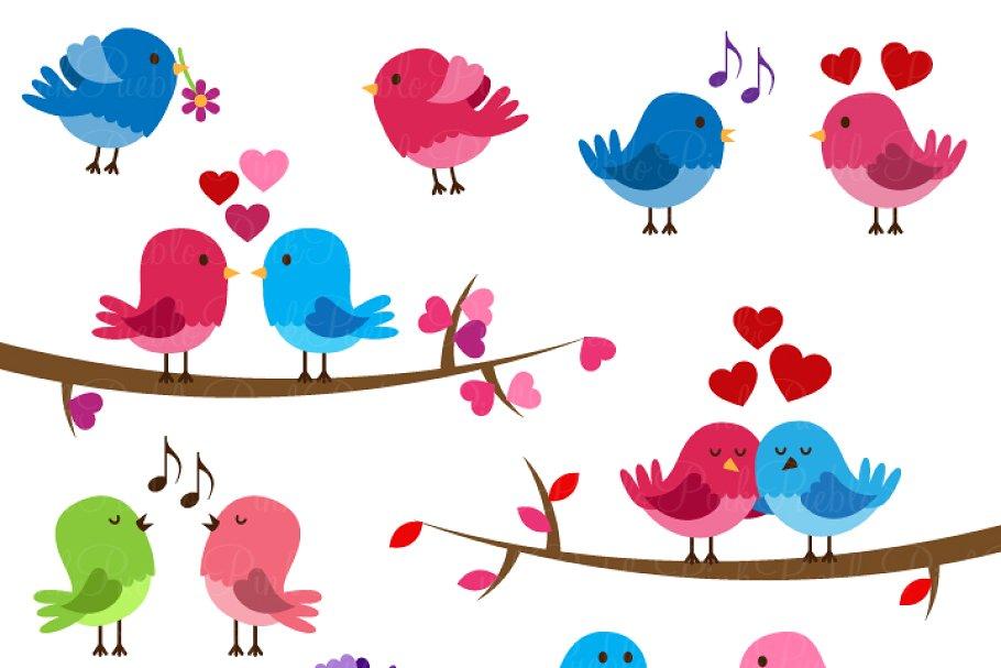 Valentine Birds Clipart and Vectors.