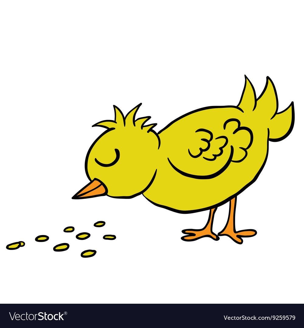 Bird eating seed vector image.