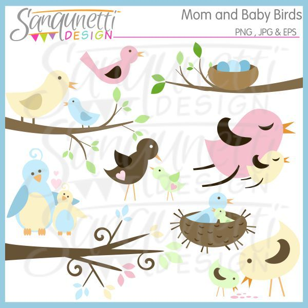 Mom and Baby Birds clipart includes birds on branches, nests, birds.
