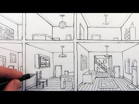 How to Draw a Room in One Point Perspective: A Bird\'s Eye.