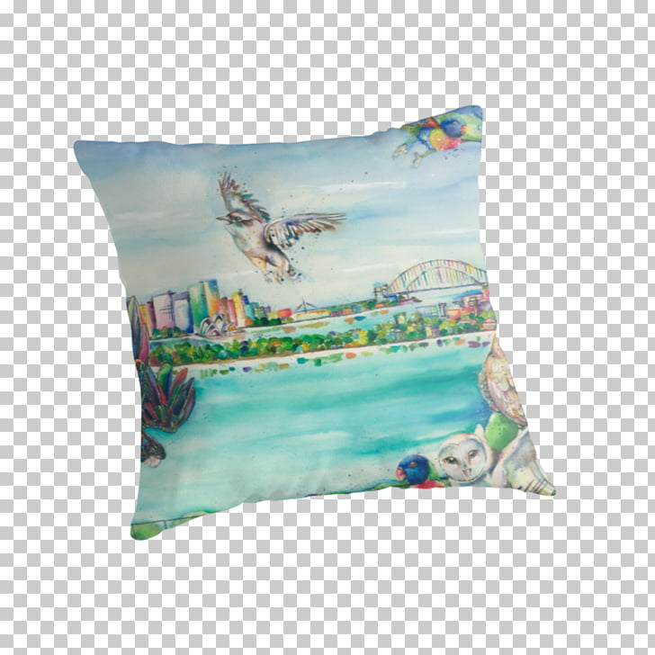 Throw Pillows Cushion Turquoise, birds eye view burger PNG.