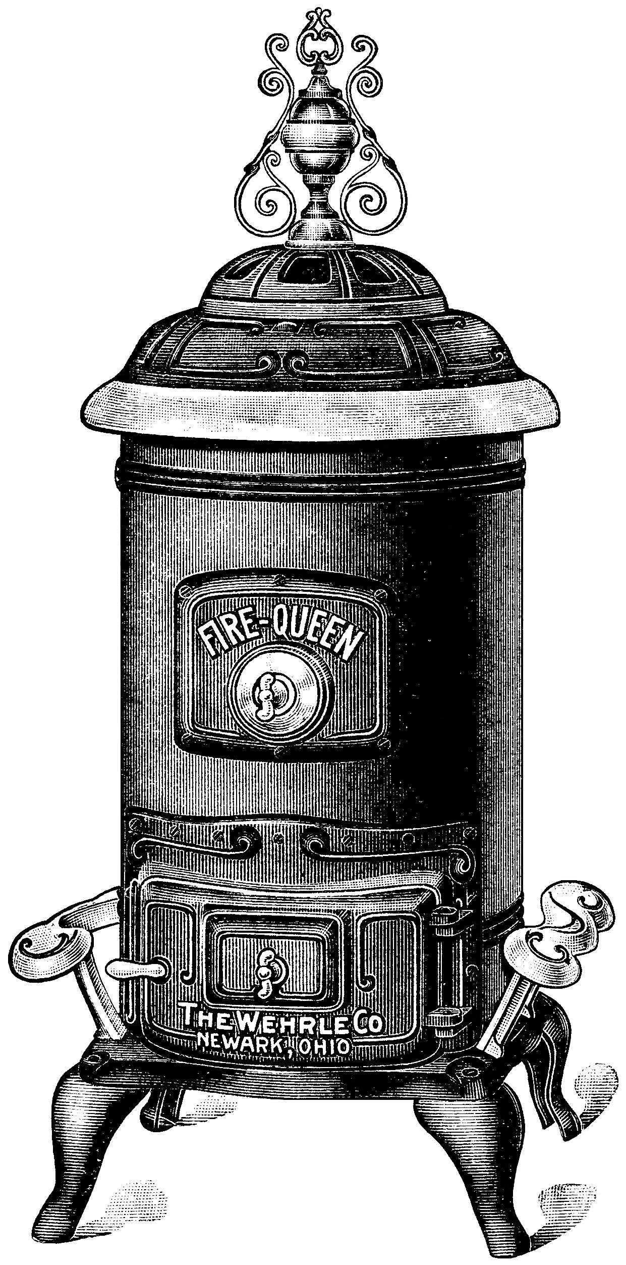 Fire Queen stove, antique stove ad, black and white clip art.
