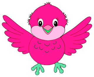 Cute Little Blue Bird Pink.