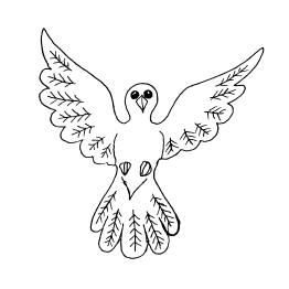 Flying Bird Outline Vector.