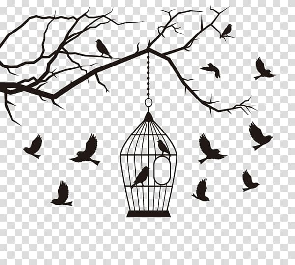 Bird cage on tree branch with surrounding birds illustration.