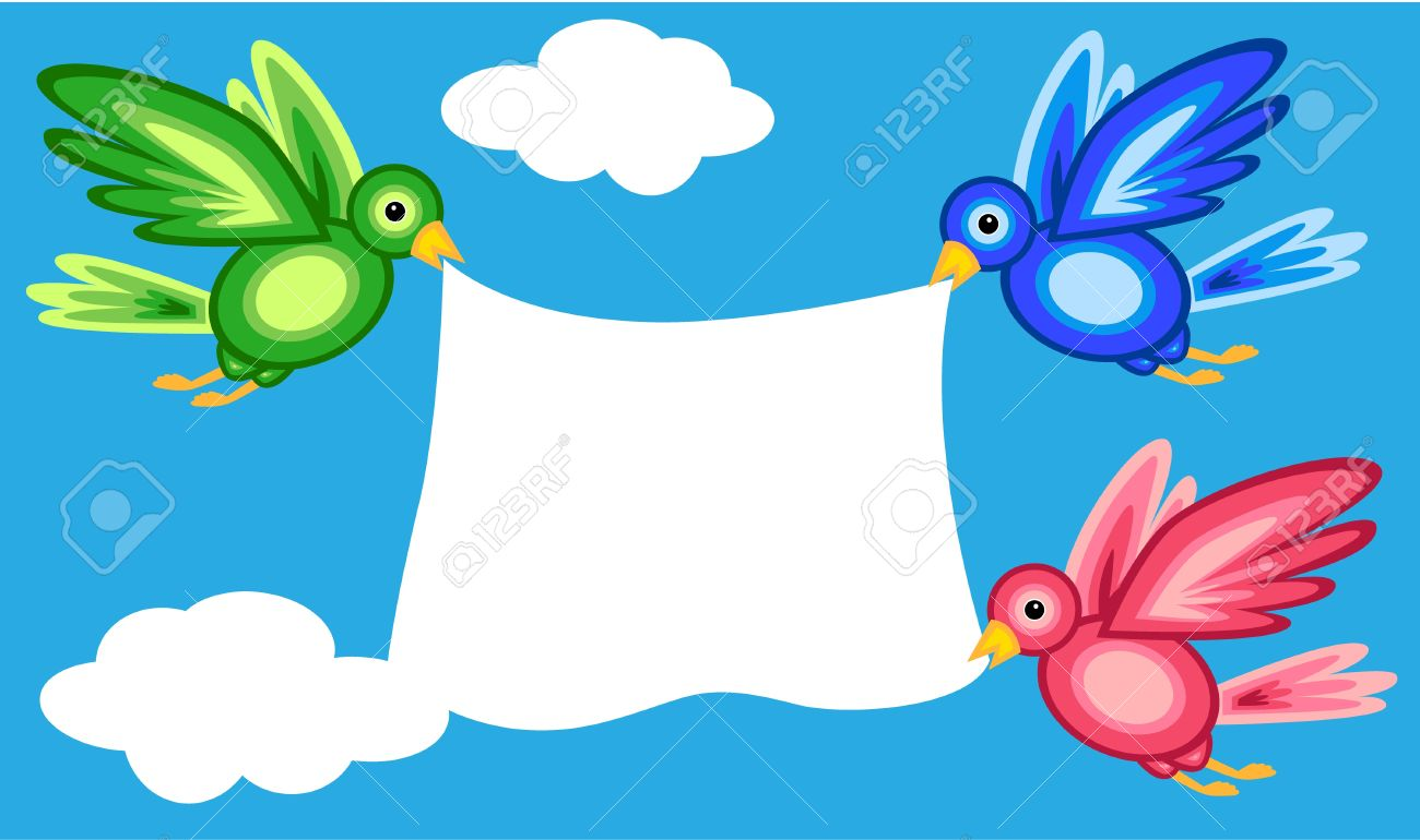 Graphic shape colorful birds flying in blue sky with white clouds...