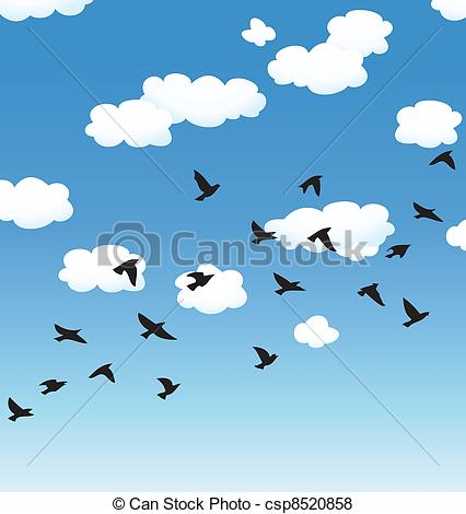 vector flying birds and clouds in the sky.