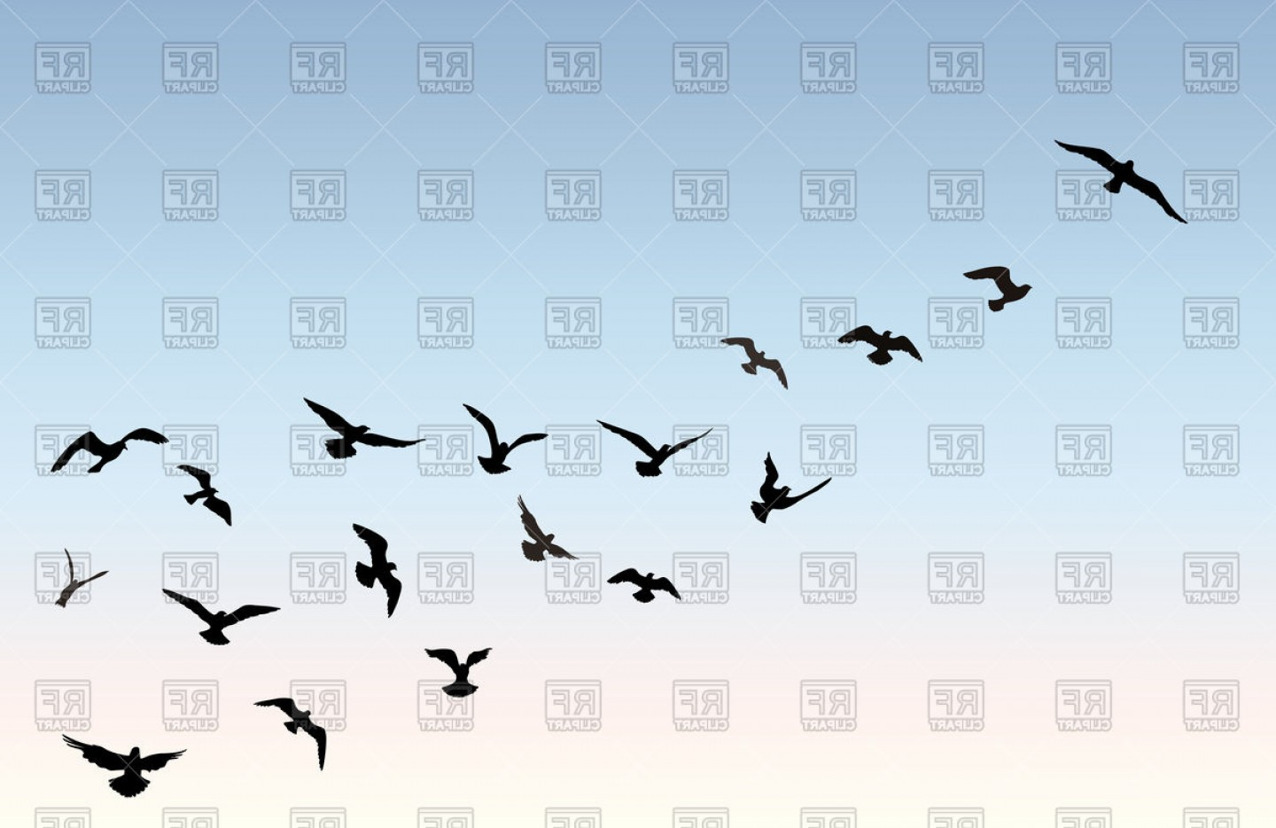 Bird Flying Silhouette Over Blue Sky Background Vector Clipart.