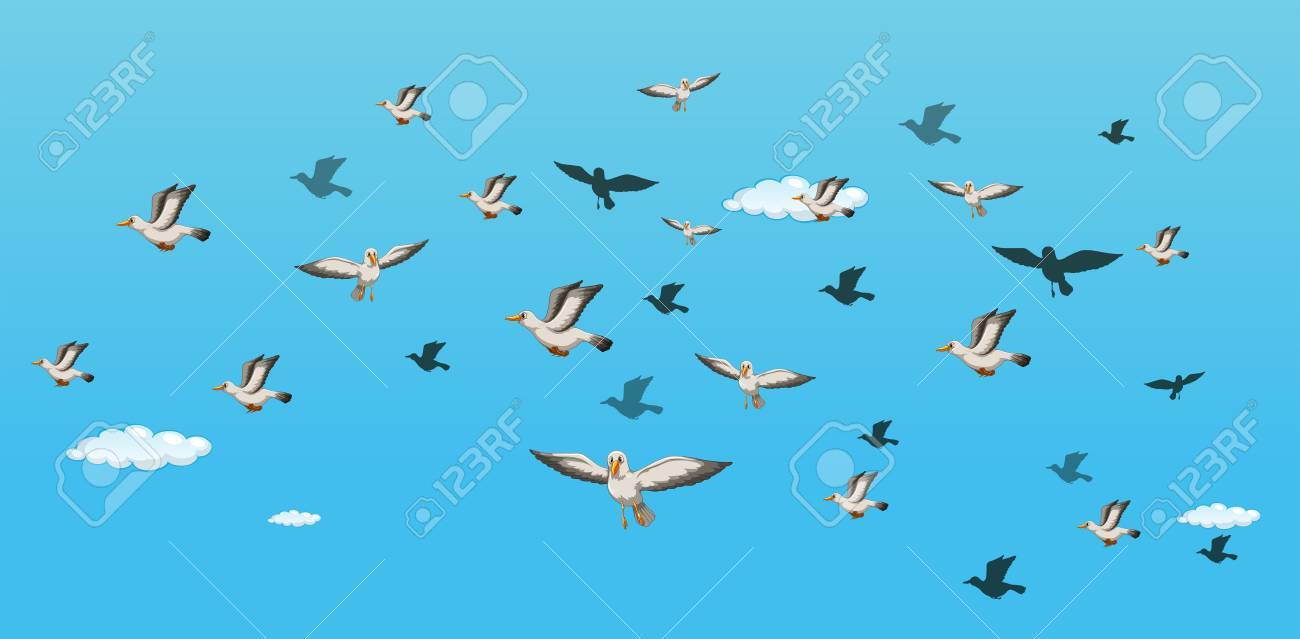 illustration of many birds flying in the sky.