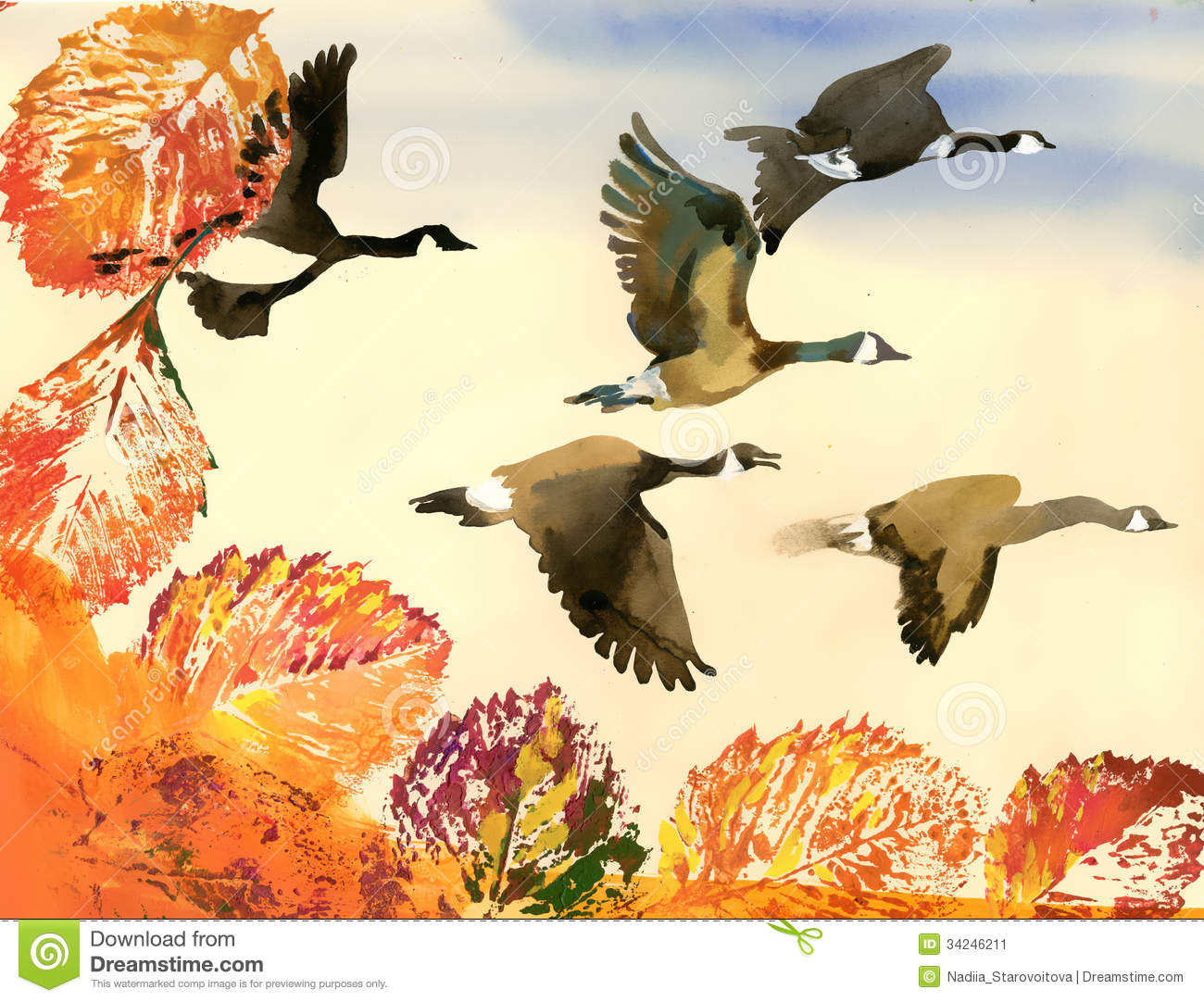 Birds Flying To South. Autumn Stock Illustration.