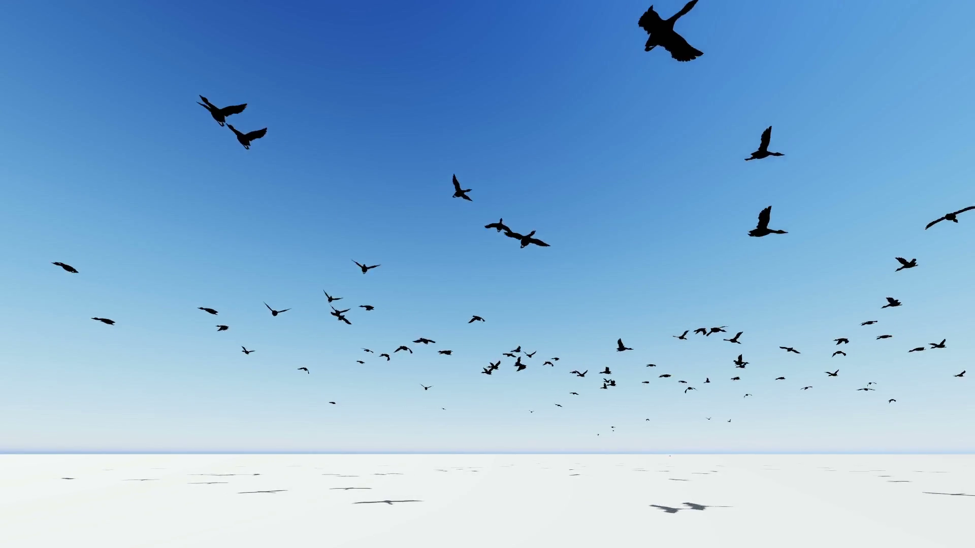 Flock of birds flying across the screen.3D animation and rendering, Motion  Background.