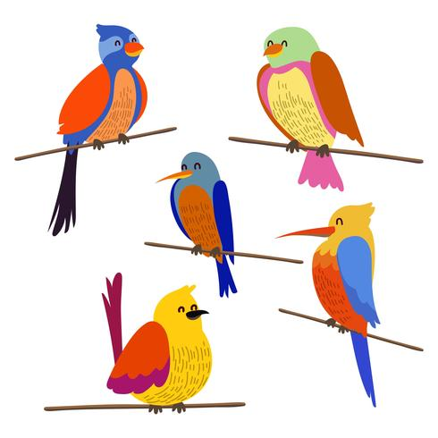 Perch Bird Clipart Set.
