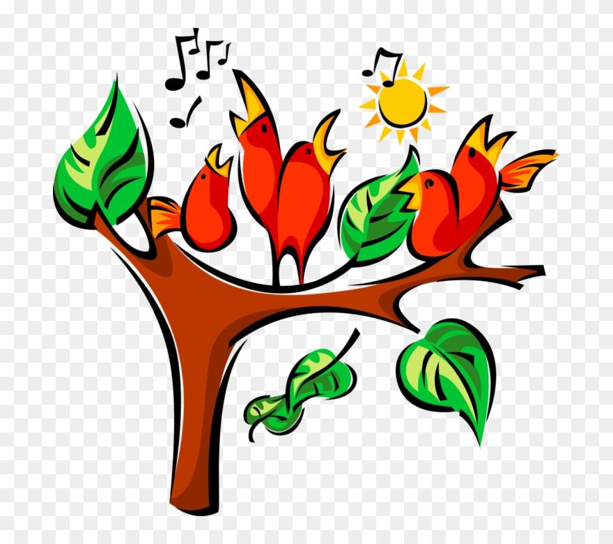 Vector Illustration Of Singing Birds Sing In Tree Under.