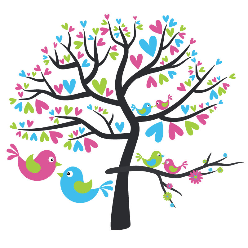 Love Birds In Tree Clipart.