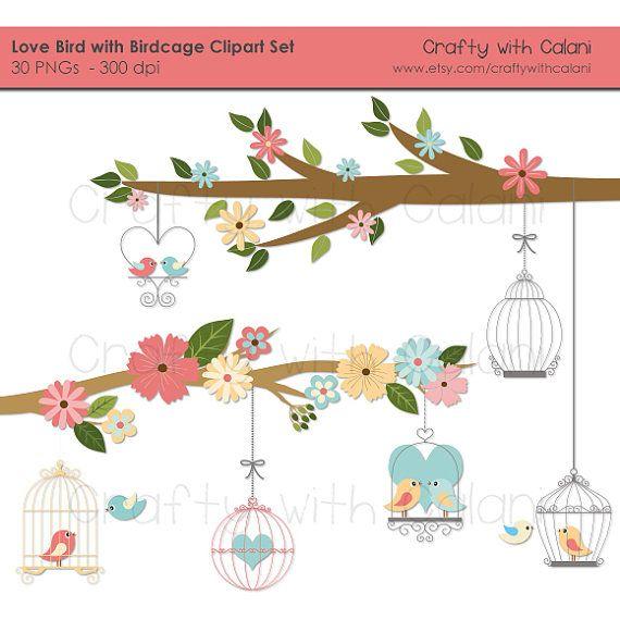Romantic Love Birds Digital Clipart, Love Birds with Bird.