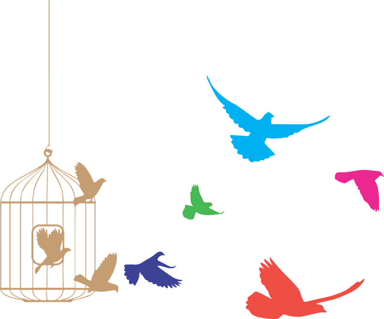 Birds Flying From Cage Clipart transparent PNG.