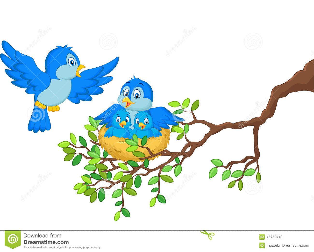 Blue Bird Cartoon Nest Stock Photos, Images, & Pictures.