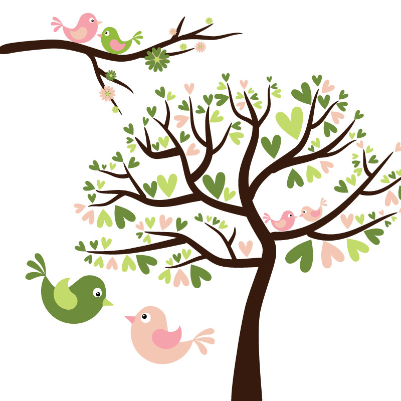 Birds In Trees Clipart.