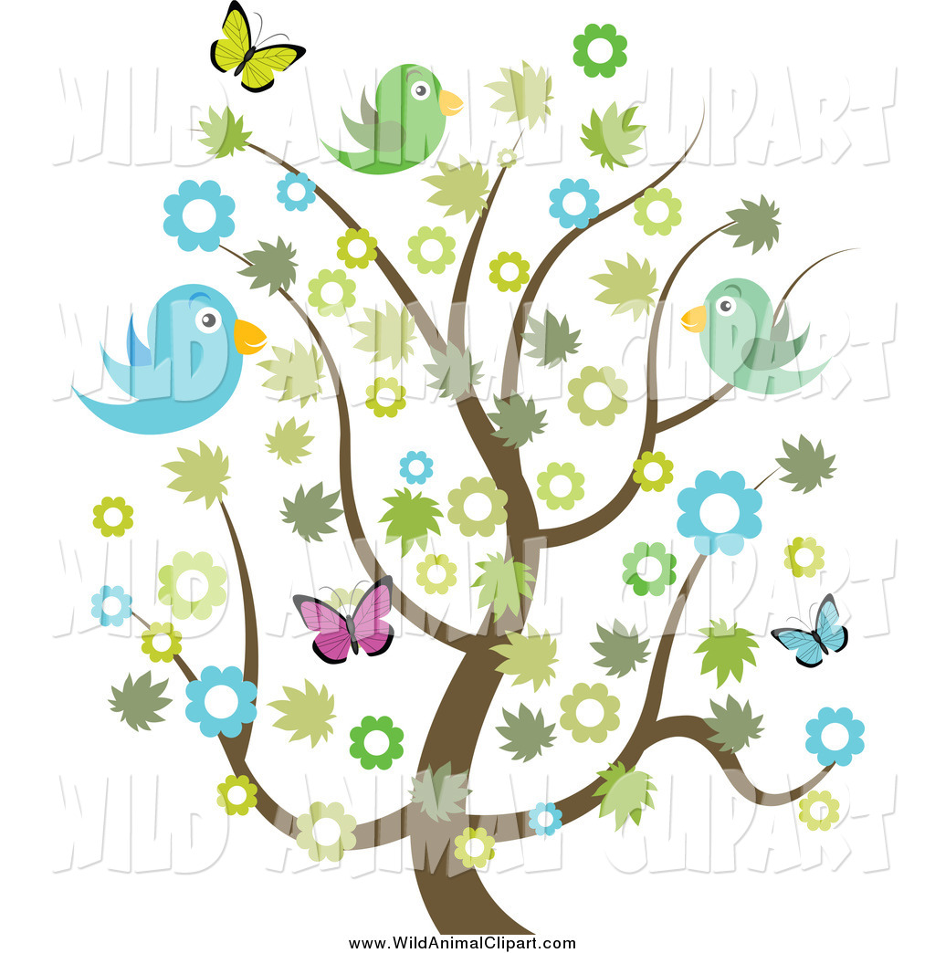 Clip Art of a Spring Tree with Flowers, Butterflies and.