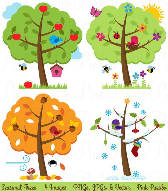 Four Seasons Trees Clipart Clip Art, Seasonal Trees and.