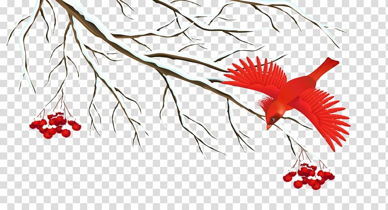 Red bird near tree painting, Winter Icon, Winter Snowy.