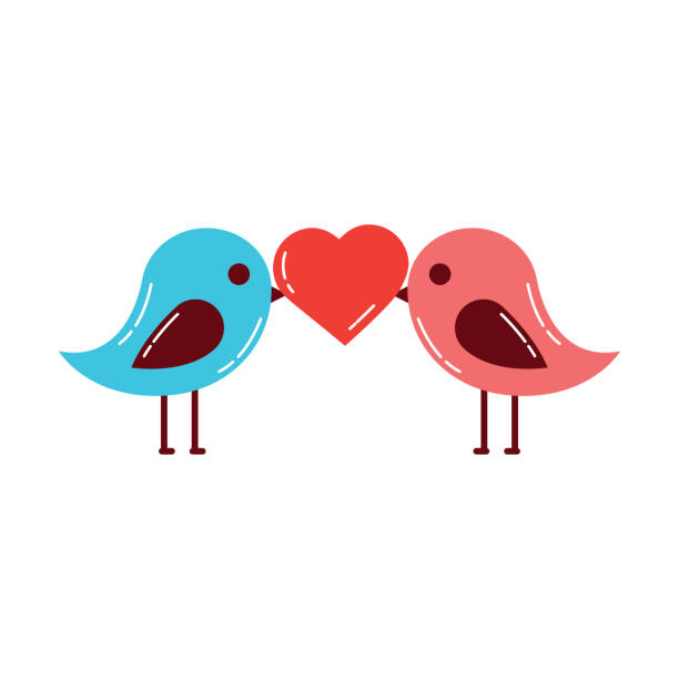 Two Birds Kissing Silhouette Illustrations, Royalty.