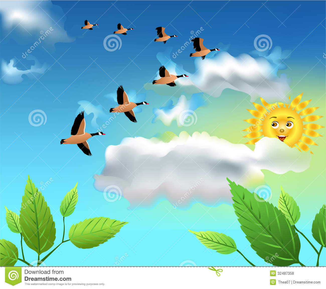 Birds in the sky clipart.