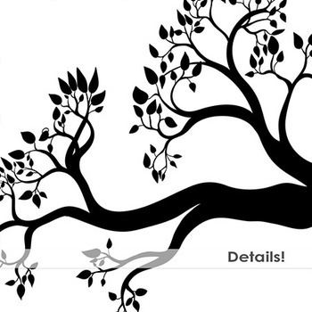 Tree Branch Silhouette ClipArt, Birds Nests, Nature Digital Graphics.