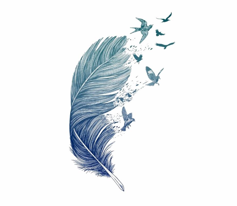 Blue Tattoo Printmaking Printing Feather Bird Clipart.