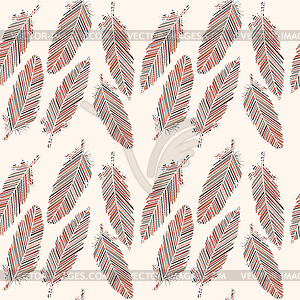 Birds feathers with colored lines seamless pattern.