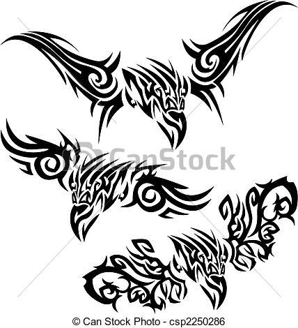 Clip Art Vector of Tattoos birds of prey.