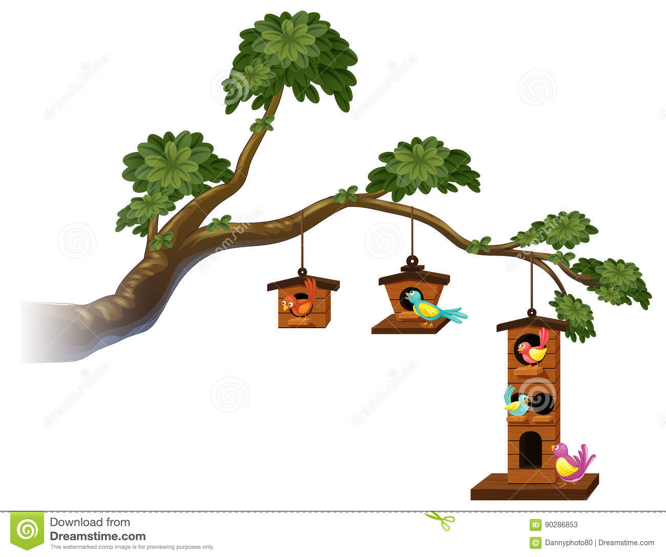 Birdhouses With Birds On The Branch Stock Vector.