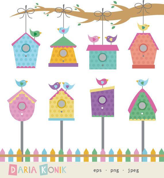 Birdhouse Clip Art birdhouses birds branch fence by.