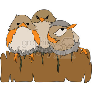 Baby Birds on Fence clipart. Royalty.