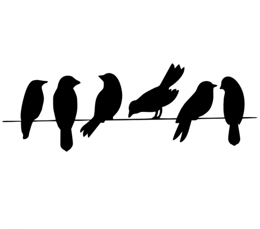 Two Birds On A Wire Silhouette.