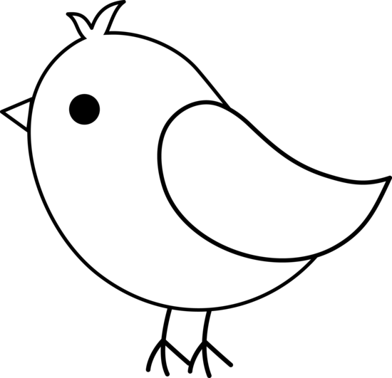 Cute Birds Clipart Black And White.