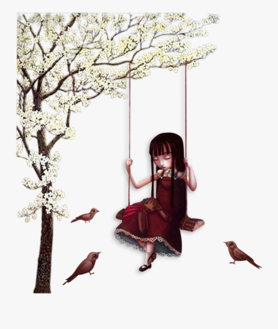 littlegirl #swing #birds #sad #tree #flowers #spring.