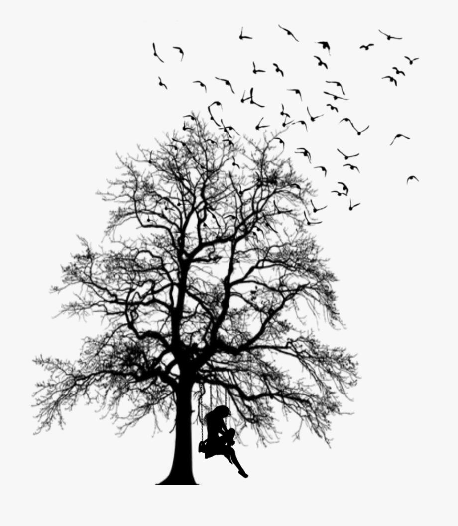 ftestickers #tree #birds #swing #girl #silhouette.