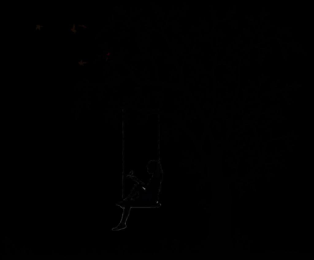 ftestickers birds tree silhouette bird swing girl.