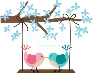 Two birds in love on a swing Clipart Image.
