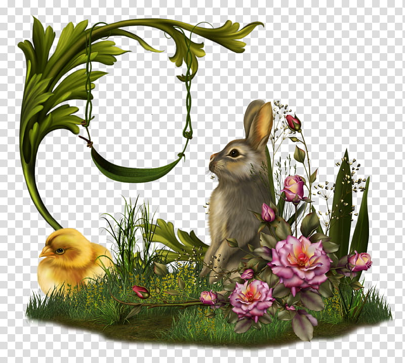 Fairy Swing , hare beside bird and swing with flowers art.