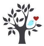 Love Birds In Tree Clipart.