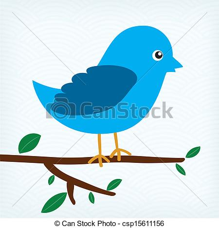 Clipart Vector of blue bird sitting on a tree branch.