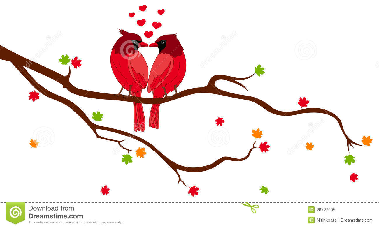 Clipart Of Love Birds On A Tree Branch With A Swing.