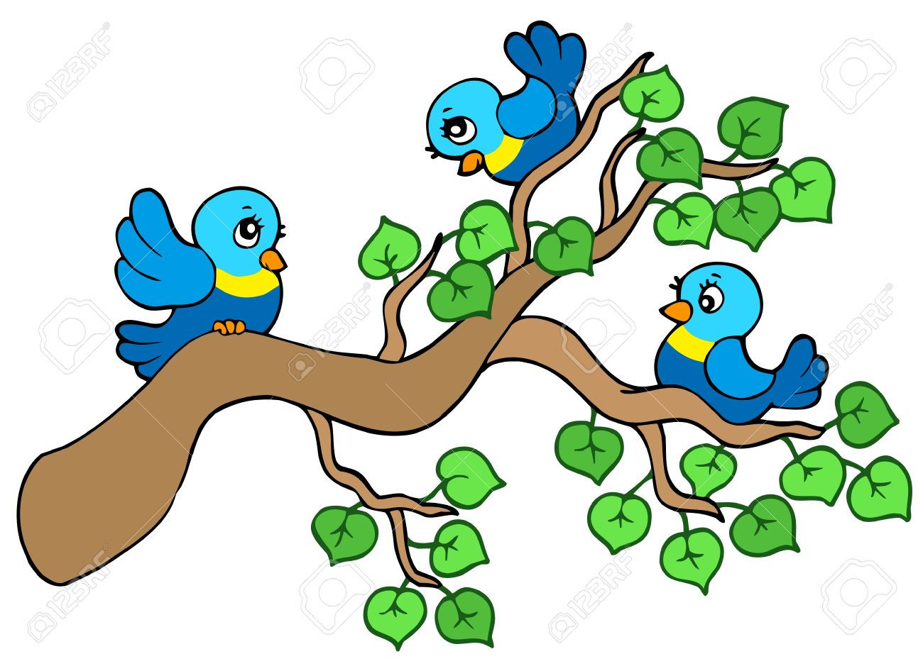 Birds On Branches Clipart.